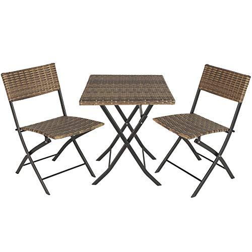 TecTake 800700 Polyrattan Bistroset Sitzgruppe 3-TLG. für Garten, Balkon, Terrasse, platzsparend klappbar, mit UV-Schutz – Diverse Farben - (Natur | Nr. 403715)