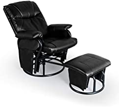 AODAILIHB Glider Chairs Rocking Chair with Ottoman 360° Swivel Chair PU Leather Upholstered Armchair Lounge Chair Sliding Chair Set (Black)