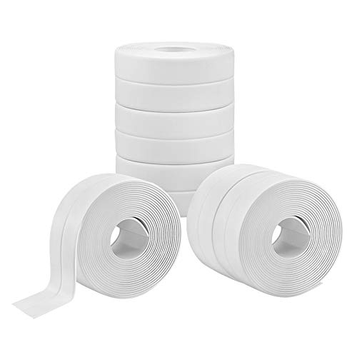 YOPAY 6 Pack Tape Caulk Strip, 1.5 Inch Wide PVC Waterproof Self Adhesive Tape for Bathtub Bathroom Shower Toilet Kitchen and Wall Sealing Protector, White