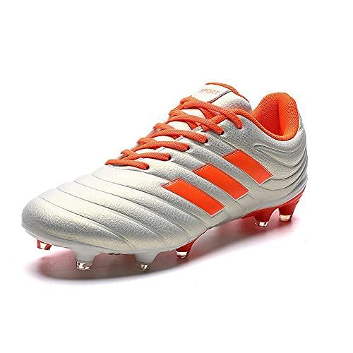 GWYX Corte bajo Zapatos Fútbol para Hombres Botas Fútbol Pico Zapatos Antideslizantes Zapatos Entrenamiento Profesional Aire Libre Zapatos Deportivos VIIPOO,Orange-39EU