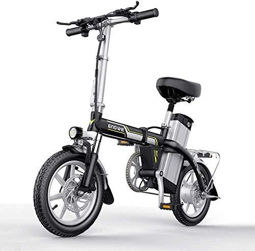 Bicicleta eléctrica eléctrica Bicicletas 14 pulgadas 400W plegable cargador de batería eléctrica de bicicletas deportivas con extraíble de litio 48V Y Bloqueo portátil y fácil de Caravana for el adult