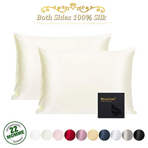 PiccoCasa 2 Pcs Silk Pillowcase for Hair and Skin, Natural Silk Pillow Cover Prevents Sleep Wrinkles, Both Sides 22 Momme Silk, Envelope Closure, Best Gift with Gift Box Beige Standard