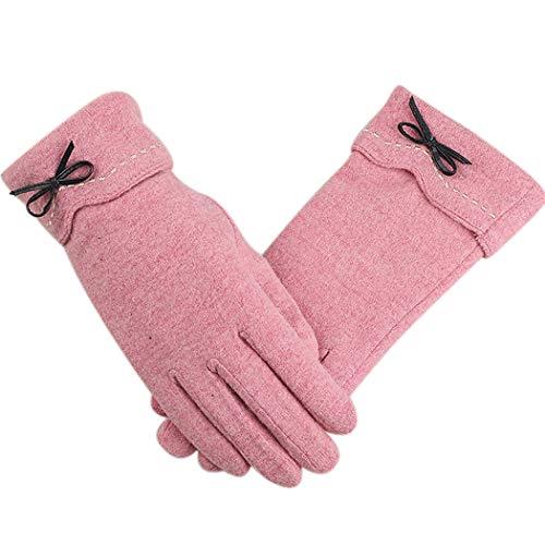 Fascigirl Guantes De Lana Para Mujer Bowknot Design Winter Warm Fleece Forrado Guantes De Mujer Guantes De Invierno Guantes De Pantalla Táctil Para Oficina