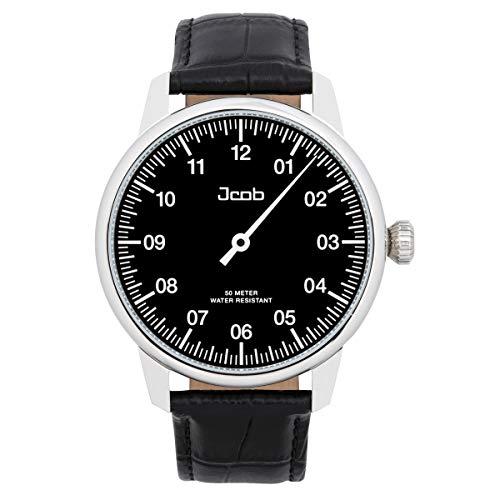 Jcob Einzeiger Uhr JCW002-LS02 Herren Schwarz Lederarmband Schwarz