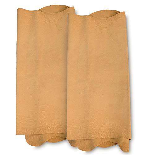 Zerimar Piel Cuero Natural Pack de 2 Pieles | Retales de Piel para Manualidades | Piel Cuero | Pack 2 | Color: Cuero | Medidas: 110x55 cm