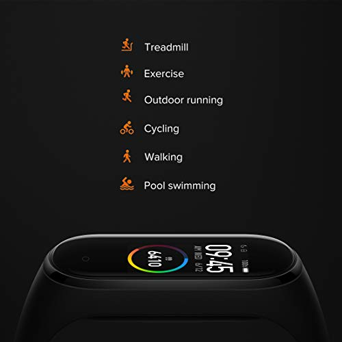 Mi Smart Band 4 0.94-inch AMOLED Color Display, 20 Days Battery, 5ATM Water Resistant, Music Control, Unlimited Watch Faces, Compatible with Android and iOS