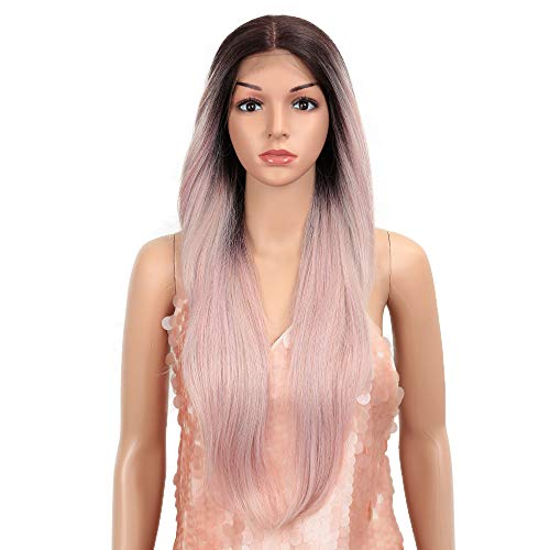 """Style Icon Easy-360 Lace Wigs 28"""" Free Part Lace Frontal Wigs Ombre Pink Synthetic Wig(28"""", TT4/AMBRS)"""