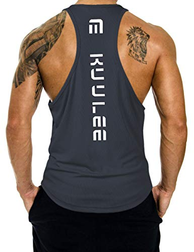 KUULEE Herren Gym Stringer Fitness Tank Top Herren Funktionelle Sport Bekleidung Bodybuilding T-Shirt Trainingsshirt ärmellos Weste Muskelshirt (Verpackung MEHRWEG), Dunklegrau, M / 36