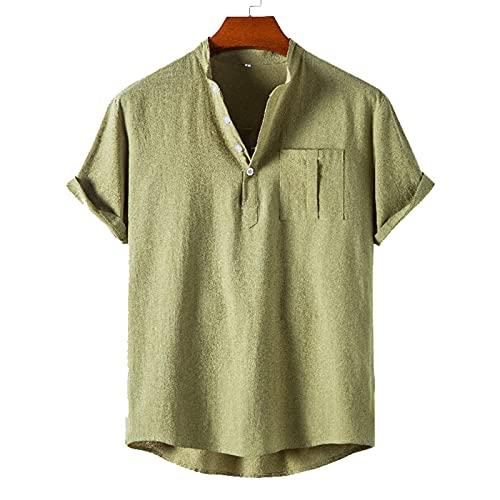 SSBZYES Camisa para Hombre Camisa De Verano De Manga Corta Camiseta para Hombre Verano Fino Camisa De Manga Corta con Cuello Alto para Hombre Camisa Polo De Color Sólido