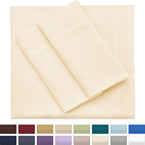 Cosy House Collection Premium Bamboo Sheets - Deep Pocket Bed Sheet Set - Ultra Soft & Cool Bedding - Hypoallergenic Blend from Natural Bamboo Fiber - 4 Piece - Full, Cream