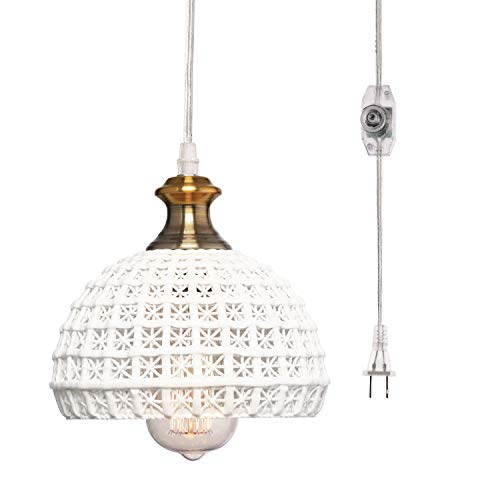 HMVPL Ceramic Plug in Pendant Light Fixture, Unique Swag Ceiling Lamp with 16.4 Ft Hanging Cord and On/Off Dimmable Switch for Kitchen Island Table Dining Room Bedroom Entryway (6.9 inches)