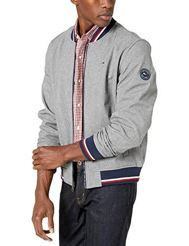 Tommy Hilfiger Men's Lightweight Varsity Rib Knit Bomber Jacket, Heather Grey soft shell, Medium