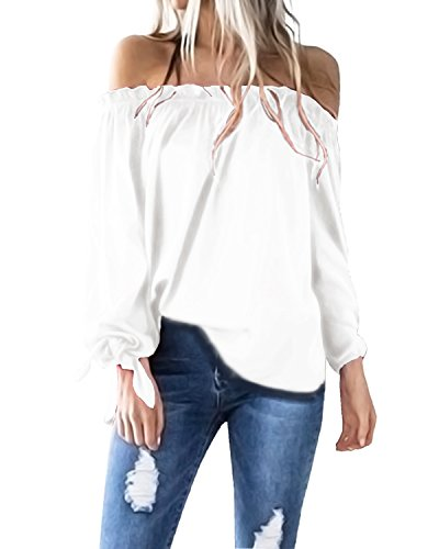 ACHIOOWA Langarmshirt Damen Elegante Schulterfreie Oberteile Tunika Laterne Ärmel Casual Karmenbluse Weiß S