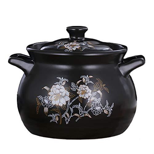 TY&WJ Chaleur-résistant Double-traitées Grès,Céramique Cuisson Lente Cocotte,Pot d'argile Mijotage Soup Casserole Bibimbap,Rond Ustensiles Pot Noir 5l