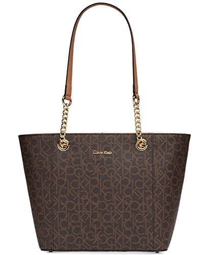 Calvin Klein Hayden Saffiano Leather East/West Top Zip Chain Tote, Brown/Khaki/Luggage