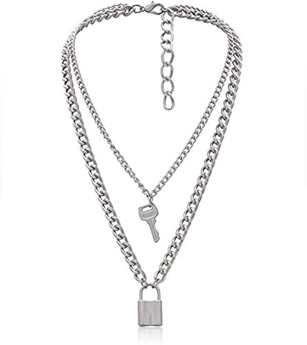 BACKZY MXJP Necklace Punk Lock Key Pendant Choker Thick Chain Necklace Jewelry for Women