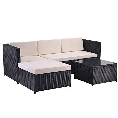Keebgyy Divano lounge da giardino in polyrattan, con cuscino per seduta e schienale, tavolo lounge con piano in vetro, colore: nero