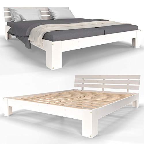 Homelux Holzbett Massivholz Bett Kiefer Doppelbett Balkenbett Bettgestell Bettrahmen Lattenrost 160 x 200 cm Weiss
