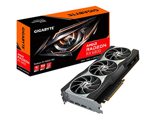 amd graphic cards GIGABYTE AMD Radeon RX 6800 16G Graphics Card, 16GB GDDR6 Memory, Powered by AMD RDNA 2, HDMI 2.1, USB Type-C, WINDFORCE 3X Cooling System, GV-R68-16GC-B Video Card