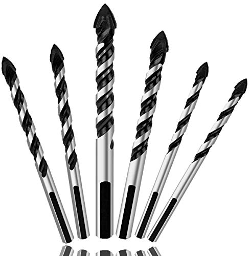 6PCS Ceramic Tile Drill Bits, Mgtgbao Masonry Drill Bits Set for Glass, Brick, Tile, Concrete, Plastic and Wood Tungsten Carbide Tip for Wall Mirror and Ceramic Tile with size 6, 6, 8, 8,10,12mm.