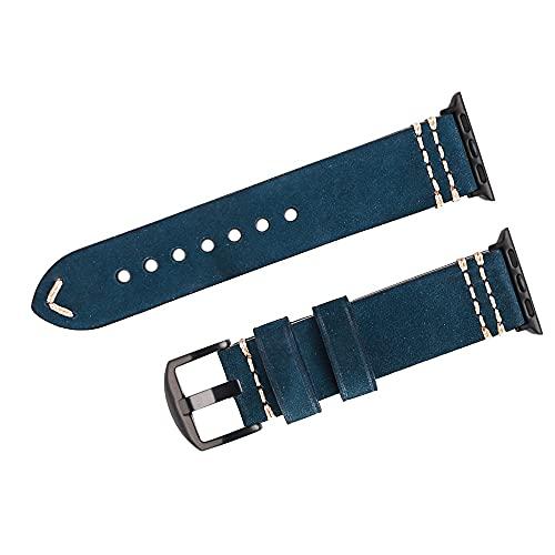 Reloj de bolsillo Mire la correa de la banda compatible con el reloj de Apple, banda de banda negro 38 mm 40 mm 42mm 44mm cera de aceite de cera de cuero de cera compatible con iWatch, 6 5 4 3 2 1 Ser
