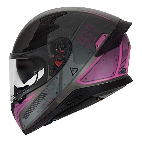 HAX Helmets – Casco Cerrado para Motocicleta, Serie Impulse, Modelo Droid Pink, Mediano