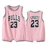 6-30 meses traje mono ropa gateando baloncesto traje toros jordrn # 23, sin mangas baloncesto Jerseys bebés y niños pequeños niños niños bebé niños, 123, rosa, 90(cm)