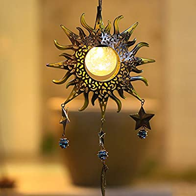 Hanging Solar Lights Outdoor Sun and Moon Crackle Glass Ball LED Decorative Solar Wind Chimes for Outside Deep Tone