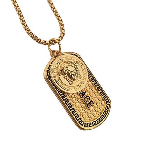 YABEME Schmuck Herren Titanium Stahl Hip Hop Kim Medusa Halskette Anhänger Gold Kette