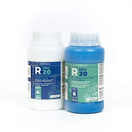 R PRO 20 è una gomma di silicone, 100% sicuro, NO tossica, liquida con catalizzatore al platino, media durezza e ad alta resistenza agli strappi, facile da usare (rapporto di miscelazione 1: 1)