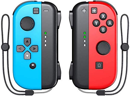 KDD Joy-Pad Controller Compatable with Nintendo Switch (L/R) Joy Controller Replacement - Neon Red/Neon Blue