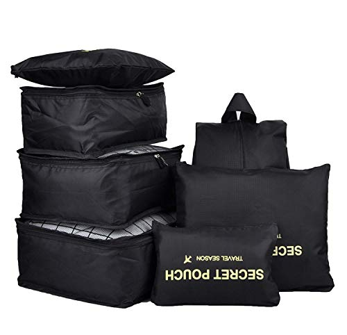 7PCS Luggage Organiser Set Compression Pouch Packing Cubes Travel Storage Bags Clothes Suitcase,Black