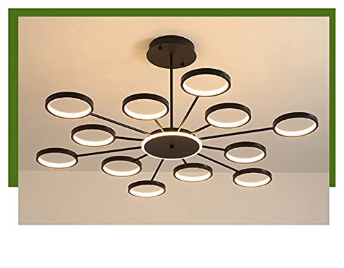 Wepread Oro/Negro Moderna Casa de Campo Chandelier Iluminación de Cocina rústica - Lámparas Grandes for techos Altos - 12 Luz de Colgante (Color : Trichromatic Light, Size : Black)