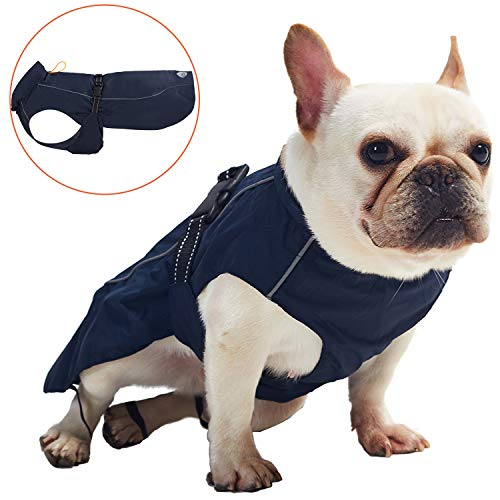 Pro Plums Dog Raincoat Adjustable Lightweight Jacket with Reflective Straps Buckle and Harness Hole Best Gift for Large Medium Small Puppy Dog(Navy Blue, S)