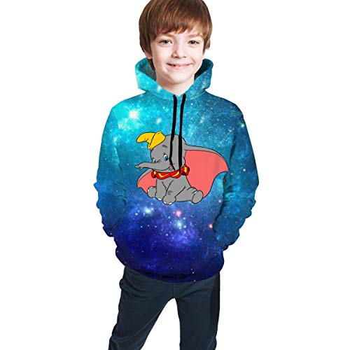 maichengxuan Cartoon Elephant Dumbo Youth Boys Girls 3D Print Pullover Hoodies Hooded Seatshirts
