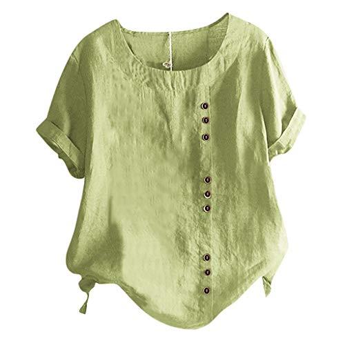 KIMODO Leinen Bluse Damen Retro Sommer Übergröße Druckknöpfe Baumwolle T Shirts O-Ausschnitt Langarm Kurzarm Loose Rundhals Oberteile Tops (Grün-D, M)