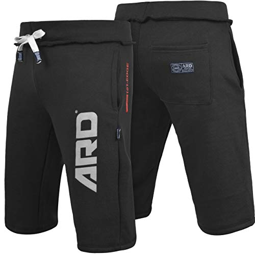 ARD CHAMPS Mens Cotton Fleece Shorts Jogging Casual Home Wear MMA Boxing Jogger (S-XXL) (Black, Large)