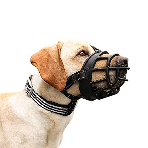Bozal de silicona para perro, sin marcas, para perros, anti ladridos, mordidas, masticar y lamer, ajustable (pata 21 - 10,2 cm)