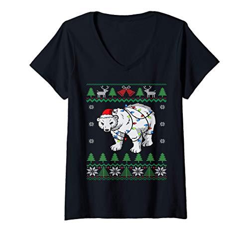 Mujer Santa Claus del Oso Polar | Oso Blanco Navidad Fea Camiseta Cuello V