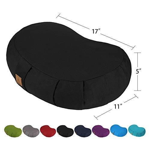 FelizMax Crescent Zafu Meditation Pillow, Zabuton Yoga Bolster, Meditation Cushion, Floor Pouf, Yoga Pillow, Zippered Organic Cotton Cover, Natural Buckwheat, Kneeling Pillow- Black and Large Size