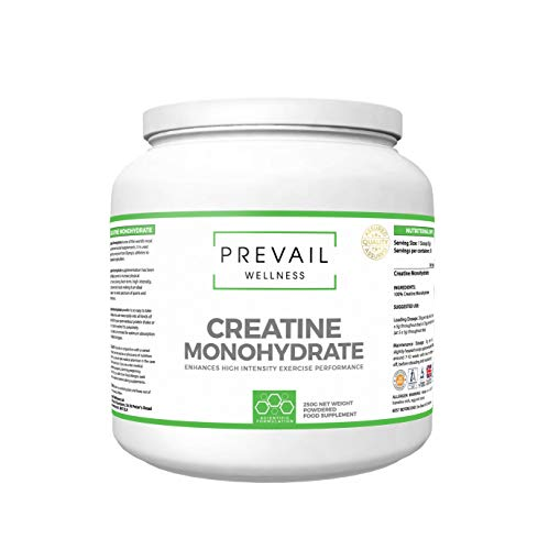 PREVAIL WELLNESS Creatine Monohydrate Powder | Muscle and Endurance | 250g | Pure Unflavoured | Suitable for Men and Women | Made in The U.K