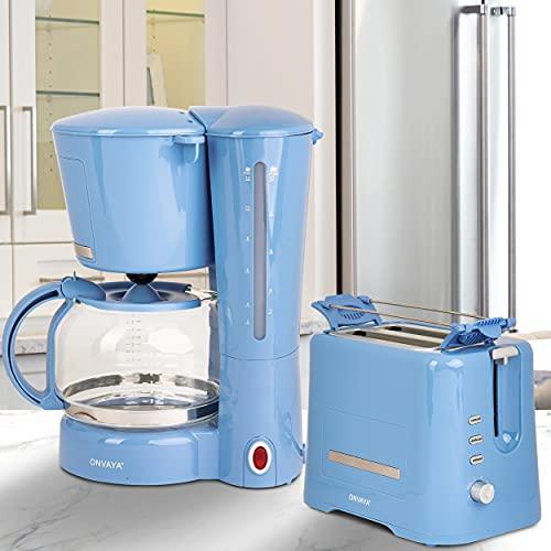ONVAYA® Juego de desayuno | máquina de café tostadora | serie de desayuno | azul claro (Juego de Desayuno de 2 Piezas | Cafetera Tostadora)