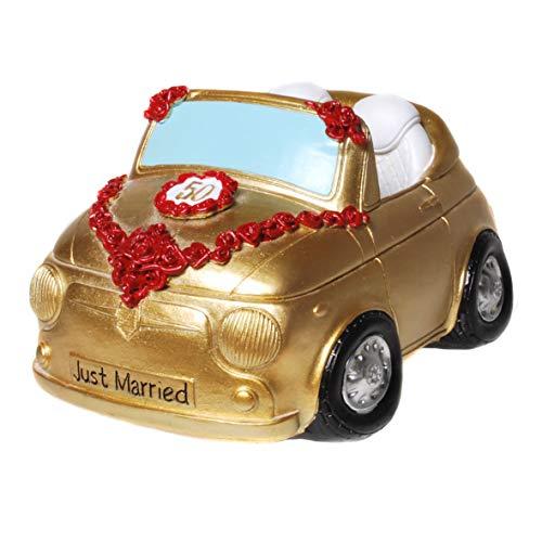 Topshop24you Bellissimo salvadanaio, cassapanca nuziale dorata per matrimonio o auto di nozze per auto di nozze d'oro, coppia di sposi in auto