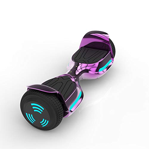 Zeebull Self-Balancing Hoverboard for Adults and Kids – 6.5' Large Puncture Resistant Wheels – Electric Balance Board with Bluetooth Speaker and LED Lights – Rechargeable Long Lasting Battery(Purple)
