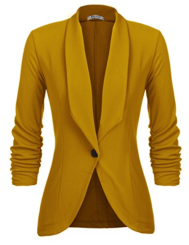 Beyove Women's 3/4 Sleeve Blazer Open Front Cardigan Jacket Work Office Blazer Mustard XXL
