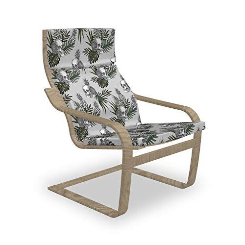 ABAKUHAUS Schädel Poäng Sessel Polster, Gothic Artikel auf Tropic Blätter, Sitzkissen mit Stuhlkissen mit Hakenschlaufe und Reißverschluss, Grün Braun Weises Grün