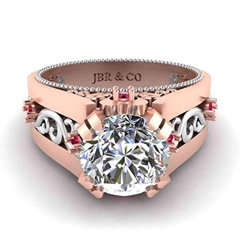 Jbr Anillo de plata de ley con filigrana de dos tonos y diamantes solitarios de compromiso para mujer de plata de ley