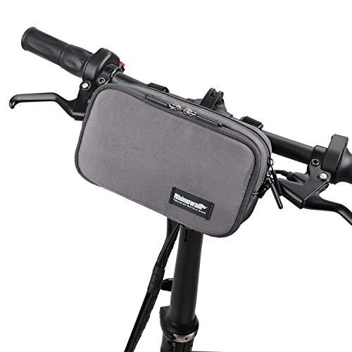 BAIGIO Vordertasche für Fahrrad, Lenkertasche mit Regenhülle, multifunktional, Schultertasche, Umhängetasche Grau