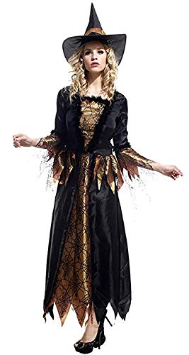 Eén maat - kostuum - vermomming - carnaval - halloween - heks - hag - tovenares - middeleeuws - zwarte kleur - volwassenen - vrouw - meisje