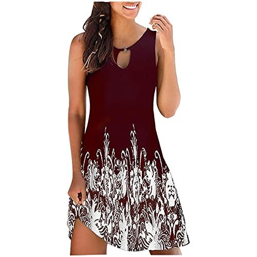 Damen Sommer Rundhals Non-Positioning Printed Kleid Ausschnitt Hohles Kleid Kurze Taille Schlank Sexy Ärmelloses Weste Kleid